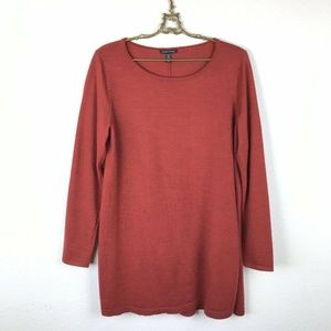 Eileen Fisher Merino Wool Sweater Red Tunic Side